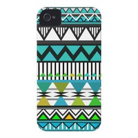 Turquoise Tribal 2 Pattern iPhone 4 Case-Mate Cases from Zazzle.com