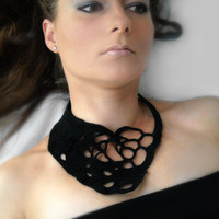 Black crochet okapi necklace Ready to ship by okapiknits on Etsy