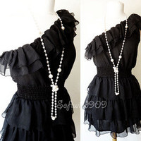 NEW Black Off One Shoulder Flirty Ruffle Full Skirt Semi-Sheer Chiffon Dress
