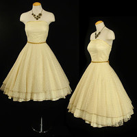 VTG 50s Polka Dot LACE FULL SKIRT Wedding Bridal Cocktail Evening Prom DRESS XS