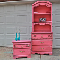 Pink Dresser Hutch /Dresser /Distressed /Shabby by AquaXpressions