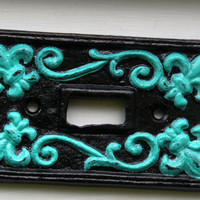 Black &amp; Laguna Green Fleur de lis Light Switch by AquaXpressions