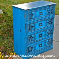 Cosmic Blue Vintage Chest/ Dark Glaze /Stylish by AquaXpressions