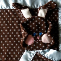 Chocolate brown polka dot bunny security by SuziesImaginarium
