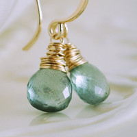 Earrings Moss Aquamarine Simple Gold Jewelry by livjewellery