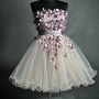 Unique Floral Ball Gown Strapless Mini Prom Dress