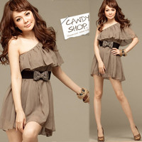 Korea Girl One Shoulder Frill Chiffon Tunic Mini Dress