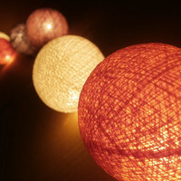 20 x Cream, Light Orange, Coco, Coffee color cotton balls string light with 3 m. wire and adapter for room and party decoration