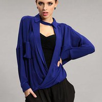 Blue Personalized Pocket Long Sleeve Shirt S010028