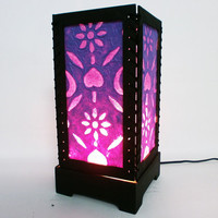 Purple Flower Mulberry paper Table Lamp for wedding and bedroom decoration