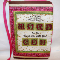 Bible Cover Cozy Pink and Brown The Word by bagsbyhags45 on Etsy