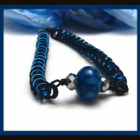 Chainmaille and Lampwork Glass Bracelet Handmade Blue and Black Chainmaille Bracelet