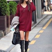 MP-Fashion  Oversized Maroon V-Neck Simple Long Sweater