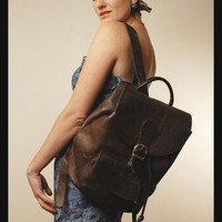 LEATHER BACKPACK vintage Pebble Grain Brown Drawstring Rucksack Bookbag