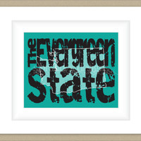 8x10 Washington Print, The Evergreen State Map Art Custom Colors
