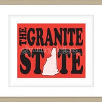 8x10 New Hampshire Print, The Granite State Typography Art Custom Color Map Art
