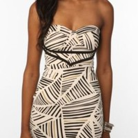 Reverse Triangle Stripe Printed Bustier Knit Dress