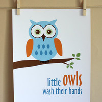 Little Owls Wash Their Hands, 8x10 - BOY | Luulla