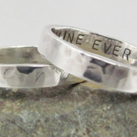 Hammered Poesy ring custom stamped promise ring by SlowWaterStudio