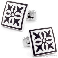 Black Flower Shield Cufflinks - CL-CH-181120