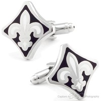 Black French Flower Cufflinks CL-CH-170169