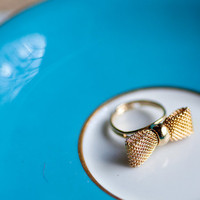 Golden Tiny mesh Bow RING adjustable by Pardes israel by pardes