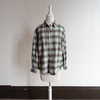 vintage western shirt / flannel shirt / plaid shirt