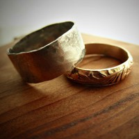 His and Hers 14K Gold Filled & Wide Silver Band Set by palefishny