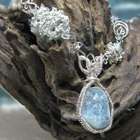 Sterling silver wire wrapped necklace, rough aquamarine, 17 in