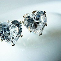 Stunning 6mm Large Heart Cubic Zircon Sterling Silver 925 Stamped Stud