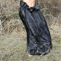"Handmade Long Black Maxi Satin Spring Summer Flower Skirt/Dress ""Illusion"""