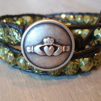Leather wrap bracelet &#x27; Irish Claddagh &#x27; irish by slashKnots