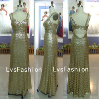 Straps Sweetheart Sequin Gold Long Sex Prom dresses, Evening Gown, Homecoming Dresses, Evening Dresses, Party Dresses