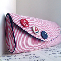 Nautical clutch purse Spring fashion Red and white by toriska