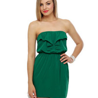 Cute Strapless Dress - Green Dress - Ruffle Dress - $40.00