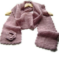 Crochet Scarf - SALE, Mohair Scarf, Long Scarf, Fall / Winter Accessory, 3D Crochet Flower, Dust Pink