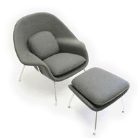 mid-century danish modern retro womb chair + stool by moderntomato - gray wool | eBay