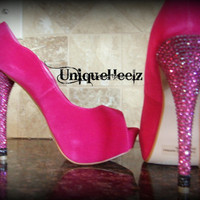 Swarovski Crystal - Fuschia Open Toe Pump - Size 8 - FREE SHIPPING