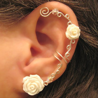 Non Pierced Cartilage  Ear Cuff  &quot;Roses are White&quot; Conch Cuff Silver tone Wedding Prom Bridal