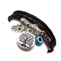 Leather Wrap Bracelet with Protective Charms | charmed design