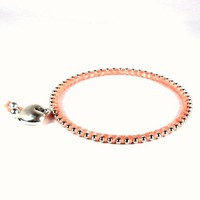 Bangle Bracelet Cotton and Bead Wrapped Peach Silver Heart Charm