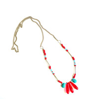 Tribal bead necklace / Red turquoise necklace by littlechaosdesign