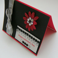 Valentine Handmade Card Red Black Silver