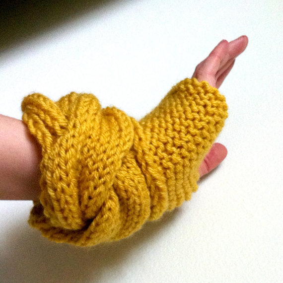 Woman's Fingerless Gloves in Mustard Yellow by KittyDune on Etsy