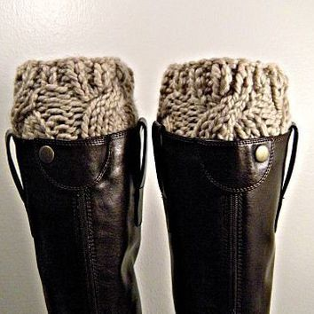 Boot Cuffs chunky knit Cremini by KittyDune on Etsy