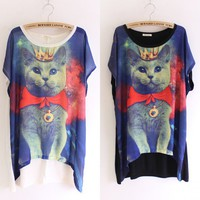 Oversized women Galaxy cat graphic print t-shirt long rock punk top tee