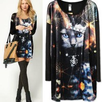 Chic QUEEN Womens Space Starry Cat Tiger Leopard long Sleeve T Shirt Jumper Top