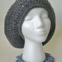 Heather Grey/Gray Crochet Oversized Slouchy Beret/Hat - Adult Size
