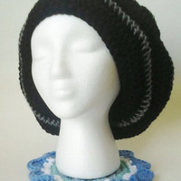 Crochet Oversized Black &amp; Heather Grey/Gray Striped Slouchy Beret/Hat
