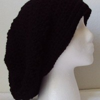 Black Crochet Slouchy Beret/Hat - Adult Size